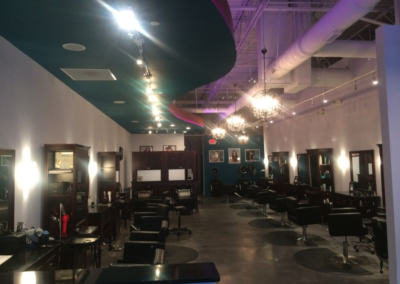 Clark Salon track lighting over stylist stations in Canton Georgia