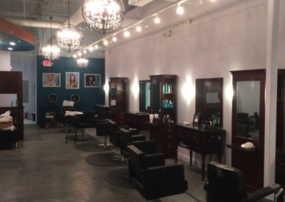 Clark Salon lighting over stylist stations in Canton Georgia
